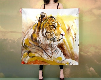 scarf, fashion artwork, gift idea, women scarf, animal scarf, gift for her, Printed scarves, tiger large scarf, silk gift ideas for her