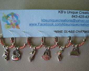 Shoes and Purses Themed Wine Charms - Set of 6