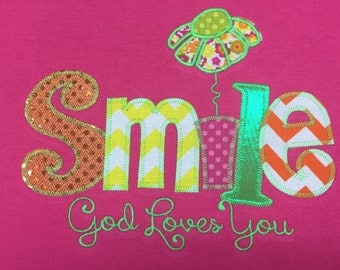 Smile God Loves You Applique Blingy T-Shirt