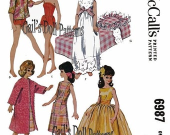 "Vintage McCalls 6987 Pattern for 12"" Teen Fashion Dolls Complete with Bed, Pillow, and Contour Coverlet"