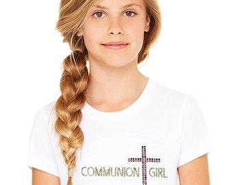 Girl's First Holy Communion T shirt, communion gifts, girls communion, first communion tee, Communion, t-shirt with cross, rhinestone cross