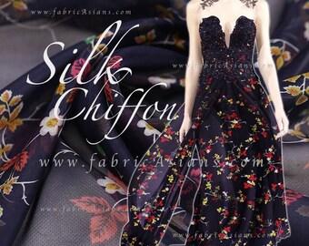 Navy Silk Chiffon Pure Silk