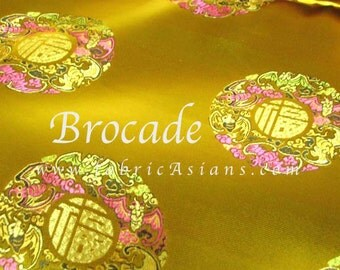 Gold Brocade. Good Luck Fabric. Chinese Character Fabric