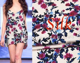 Carnation Printed Silk Fabric. Floral Silk Satin SS100896