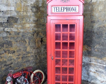 British Red Telephone Box Cabinet