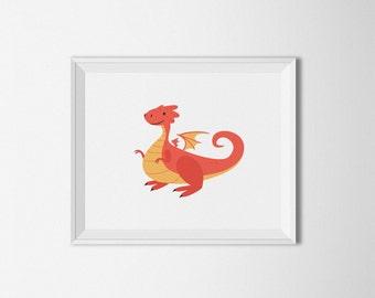 Red Dragon Nursery Art, printable art, dragon printable, dragon wall art, red and yellow decor, nursery print, dragon illustration, digital