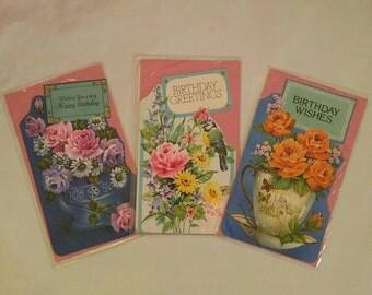 Vintage kitsch lot of 3 birthday cards