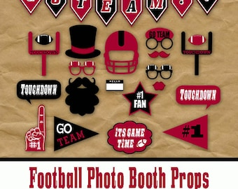 Red and Black School Colors Football Photo Booth Props and Party Decorations - Printable - Birthday Party Decorations - Instant Download