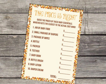 Price is Right Baby Shower Game - Pumpkin Price is Right - Little Pumpkin - Lil Pumpkin 191