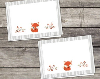 Woodland Fox Food Tent Labels or Cards - Place Cards - Forest Animals - - Blank Folded Cards - Fox 141