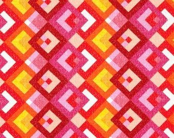 Pink Red Fabric | Boxed In Pink/Orange | sold by the Fat Quarter