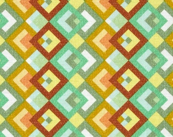 Green Yellow Fabric | Boxed In Green/Yellow | sold by the Fat Quarter