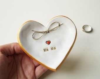 Wedding Ring Holder, Ring Dish, Wedding Bowl, Wedding Ring Pillow, Jewelry Holder, Ceramic Heart Plate, Ceramics and Pottery, Ceramic Heart