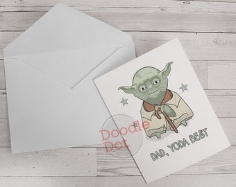 Fathers Day card Dad, Yoda best Fathers Day card Geeky Fathers day card Funny Fathers Day card pun card  designed by Doodle Dot