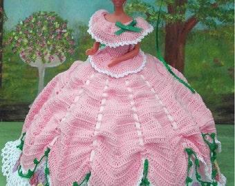 Crochet Fashion Doll Barbie Pattern- #55 GARDEN PARTY in PINK
