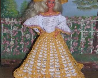Crochet Fashion Doll Barbie Pattern- #56 GARDEN PARTY
