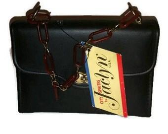 vintage NWT leather look vinyl and lucite purse - vinyl leather look pocketbook - vintage bag - vintage purse - retro handbag - 1960s purse