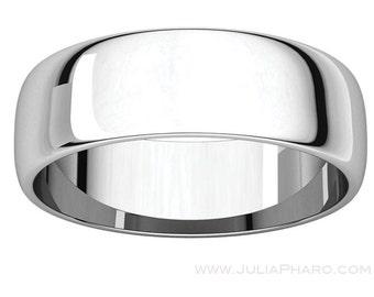 6mm Half Round (D Shape) Platinum 950 Wedding Band
