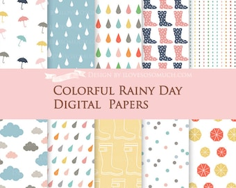 Colorful Rainy Day Digital Paper Pack - Instant Download - DP067