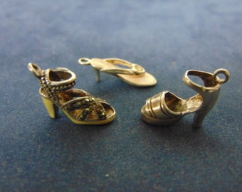 3 Vintage Womens .925 Sterling Silver Shoe Charms 6.1g E2443