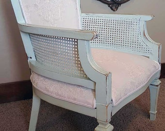 Accent Chair Distressed Cane Chair-White embroidered upholstery, mint or light turquoise wood