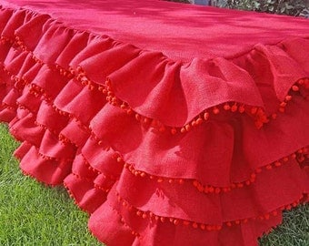 Burlap Ruffle Tablecloth with PomPom Trimming-4th of July, Holiday, Wedding Decor