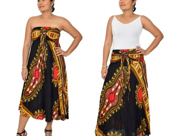 New African Dashiki Dress and Skirt 2 in1 for her,women,Africa,Dress,Shirt,Tunic,One size, fits up to XL