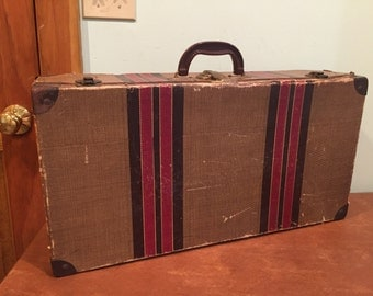 Vintage Mid Century Travel Luggage Striped Suitcase c. 1940s