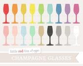 Champagne Glass Clipart, Wine Clip Art Cocktail Martini Margarita Liquor Drink Bar Flute Cute Digital Graphic Design Small Commercial Use
