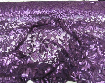 Angelic Bridal wedding sequin flower lace purple. Sold by the yard.