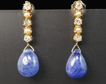 14K Yellow Gold Nat Blue Sapphire Teardrop Diamond Seed Pearl Antique Earrings