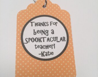 Set of 6 Personalized Halloween Orange Polka Dot Teacher Gift Tags Favor Tags-Ships in 3-5 days!