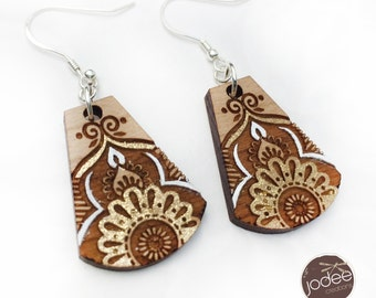 Tribal, boho design laser cut wood drop earrings - 'Passion Love' GOLD LEAF