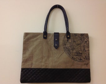 Love this Recycled Canvas and Leather Tote!!! Monogram Ready!!!
