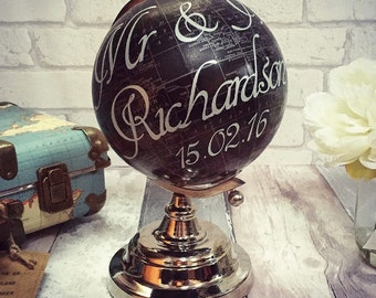 Mr & Mrs wedding engagement anniversary globe personalised