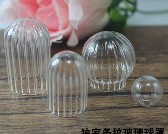 Two Holes 20x12mm 379C 4pcs Clear Glass Cover