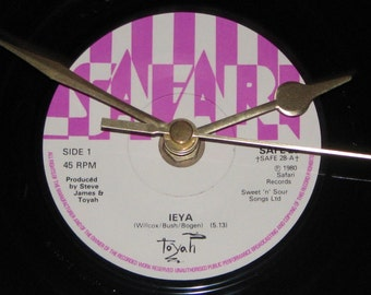 "Toyah Ieya  7"" vinyl record clock"