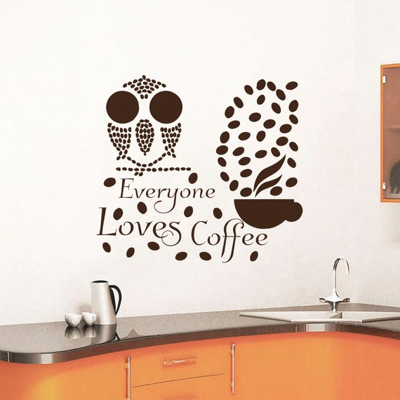 Kitchen Interior Design Quotes: Coffee Beans Wall Decals Quotes Decal Vinyl Sticker By