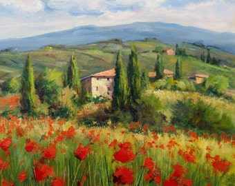 Italian painting flowered valley panorama Tuscany landscape original oil canvas B.Chirici Italy Toscana