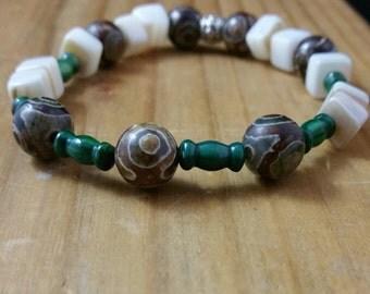 Etched Agate Stretchy Bracelet