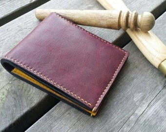 Alternative Bifold Leather Wallet /Burgundy and Honey Yellow Leather Wallet, Bifold Wallet, Leather Wallet, Grungy wallet, Bohemian