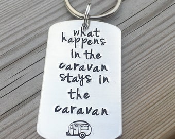 Hand Stamped Caravan Keyring great to add to your caravan keys! Mother's Day, Father's Day, Christmas gift.