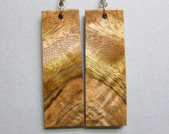 Stunning Curly Mango, Exotic Wood Earrings, Large Long Dangle Rectangle handcrafted by ExoticwoodJewelryAnd