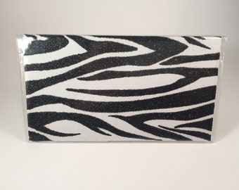 Glitter zebra checkbook cover