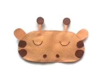 Giraffe eye mask, Giraffe sleep mask, animal sleep mask, animal eye mask, sleeping aid, felt sleep mask