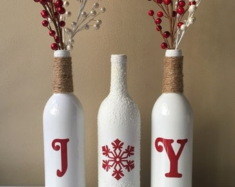 Joy Wine Bottles, Christmas Decorations, Snow Wine Bottles, Twine Wrapped Wine Bottles,