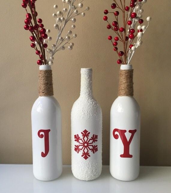 Joy Wine Bottles, Christmas Decorations, Snow Wine Bottles, Twine Wrapped Wine Bottles,