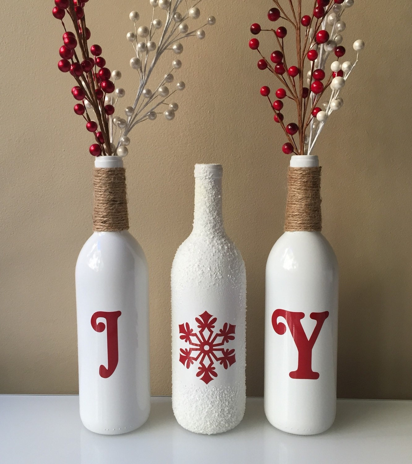 Joy wine bottles christmas decorations snow wine bottles for Christmas bottle decorations