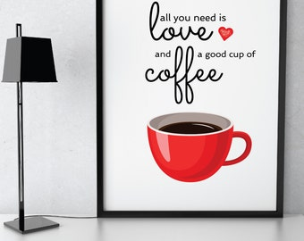 Red Cup Coffee love decor, Coffee kitchen wall art, kitchen decor, coffee print, coffee poster, kitchen art, kitchen decor, coffee quote art