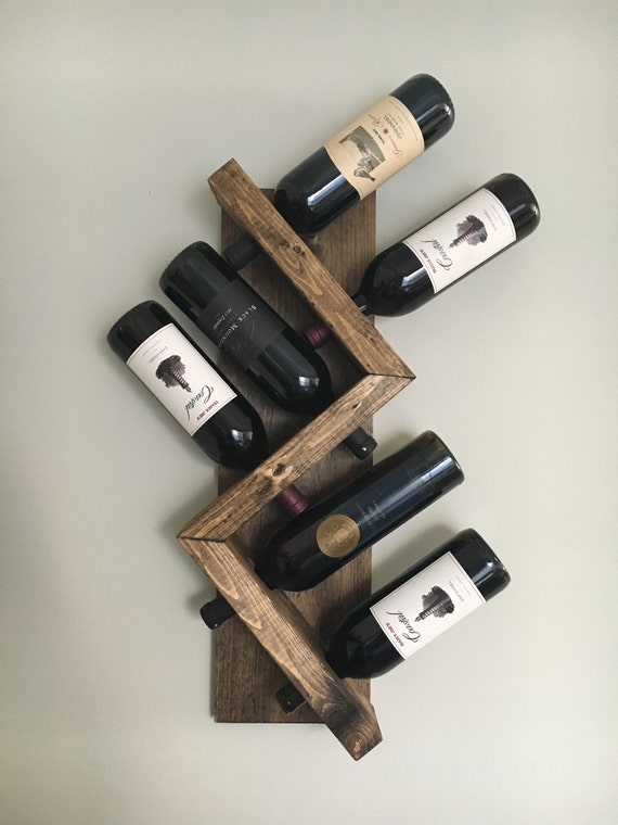 Zig zag wine rack z geometric rustic wood wine bottle display - Small space wine racks design ...